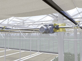 Rack system in Venlo greenhouse with EWA power drive and KKp couplings.  SZG gear unit for adjusting position of screening fabric.