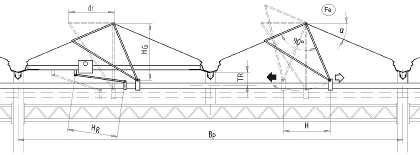 Lock Technical drawing of swing ventilation for push-rod system