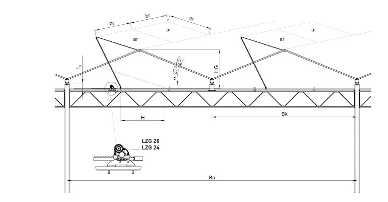 Lock technical drawing of rail mounting configuration for rail ventilation