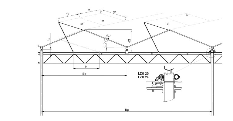 Lock technical drawing of support mounting for rail ventilation